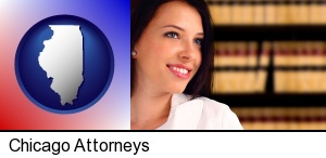 Chicago, Illinois - a young, female attorney in a law library
