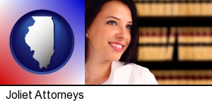 Joliet, Illinois - a young, female attorney in a law library
