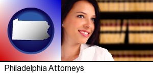 Philadelphia, Pennsylvania - a young, female attorney in a law library