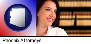 Phoenix, Arizona - a young, female attorney in a law library