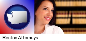 Renton, Washington - a young, female attorney in a law library
