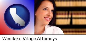 Westlake Village, California - a young, female attorney in a law library