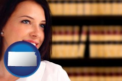 kansas map icon and a young, female attorney in a law library
