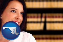 maryland map icon and a young, female attorney in a law library