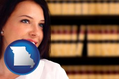 a young, female attorney in a law library - with Missouri icon