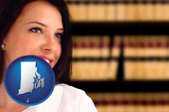 rhode-island map icon and a young, female attorney in a law library