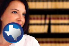 texas map icon and a young, female attorney in a law library