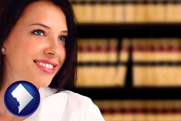 a young, female attorney in a law library - with Washington, DC icon