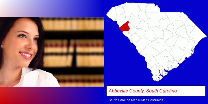 a young, female attorney in a law library; Abbeville County, South Carolina highlighted in red on a map