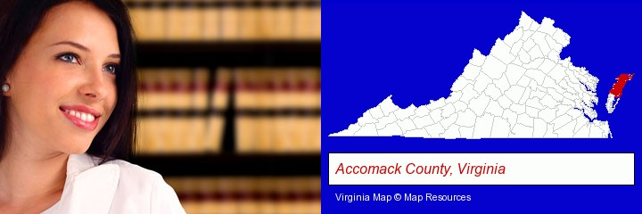 a young, female attorney in a law library; Accomack County, Virginia highlighted in red on a map