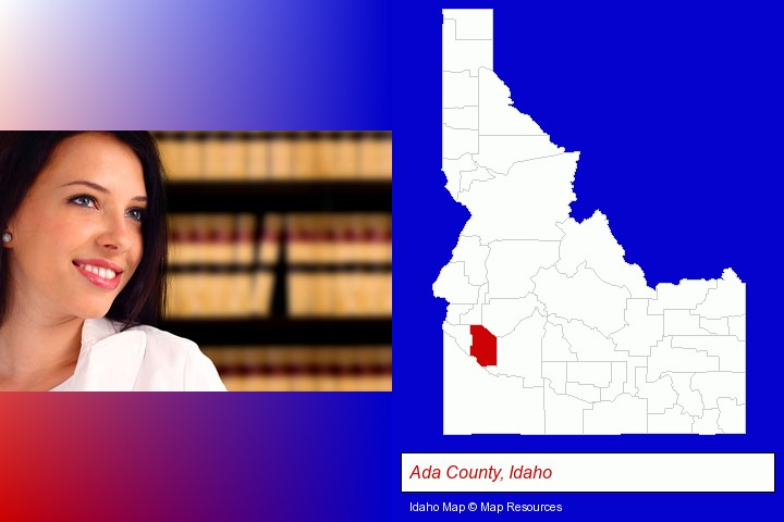 a young, female attorney in a law library; Ada County, Idaho highlighted in red on a map