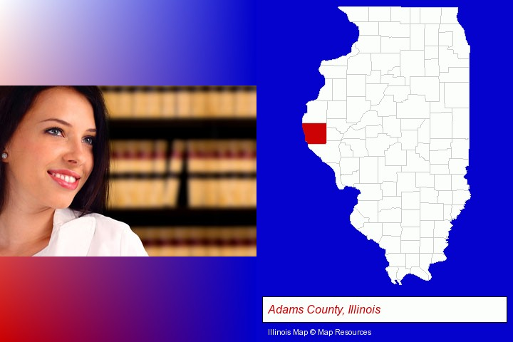 a young, female attorney in a law library; Adams County, Illinois highlighted in red on a map