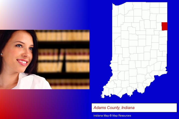 a young, female attorney in a law library; Adams County, Indiana highlighted in red on a map
