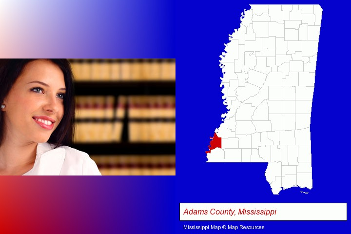 a young, female attorney in a law library; Adams County, Mississippi highlighted in red on a map