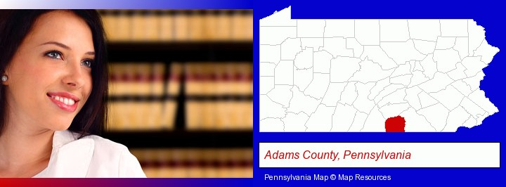 a young, female attorney in a law library; Adams County, Pennsylvania highlighted in red on a map
