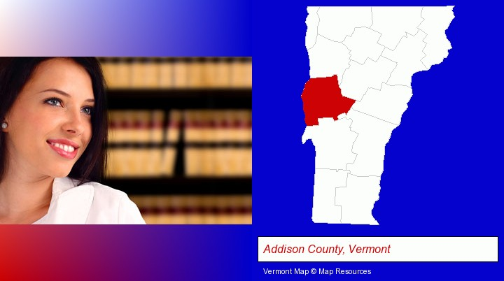 a young, female attorney in a law library; Addison County, Vermont highlighted in red on a map