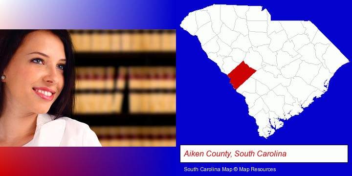 a young, female attorney in a law library; Aiken County, South Carolina highlighted in red on a map