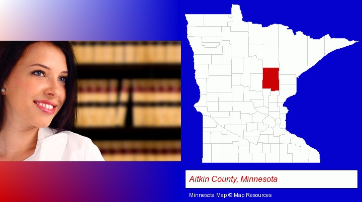 a young, female attorney in a law library; Aitkin County, Minnesota highlighted in red on a map
