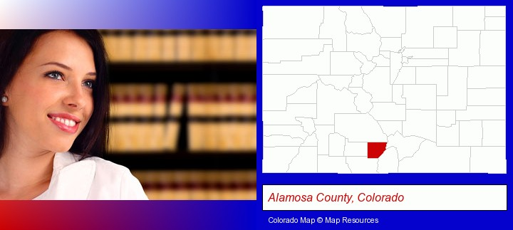a young, female attorney in a law library; Alamosa County, Colorado highlighted in red on a map