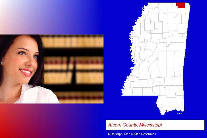 a young, female attorney in a law library; Alcorn County, Mississippi highlighted in red on a map