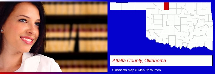 a young, female attorney in a law library; Alfalfa County, Oklahoma highlighted in red on a map
