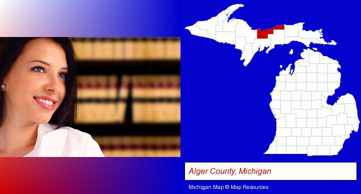 a young, female attorney in a law library; Alger County, Michigan highlighted in red on a map