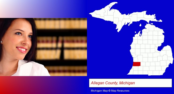 a young, female attorney in a law library; Allegan County, Michigan highlighted in red on a map