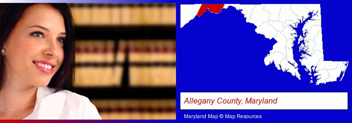 a young, female attorney in a law library; Allegany County, Maryland highlighted in red on a map