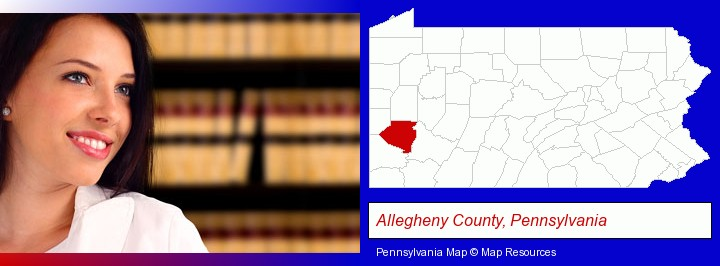 a young, female attorney in a law library; Allegheny County, Pennsylvania highlighted in red on a map