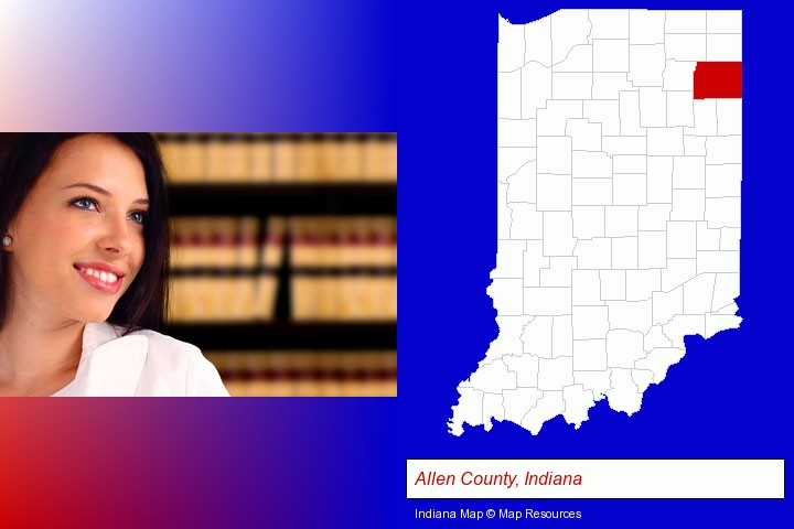 a young, female attorney in a law library; Allen County, Indiana highlighted in red on a map