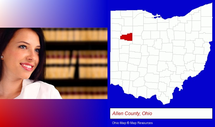 a young, female attorney in a law library; Allen County, Ohio highlighted in red on a map