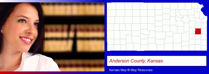 a young, female attorney in a law library; Anderson County, Kansas highlighted in red on a map