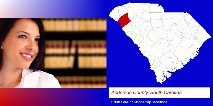 a young, female attorney in a law library; Anderson County, South Carolina highlighted in red on a map