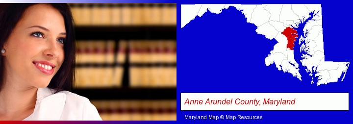 a young, female attorney in a law library; Anne Arundel County, Maryland highlighted in red on a map