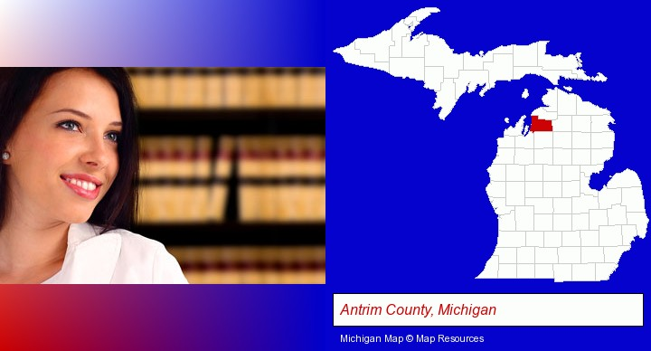 a young, female attorney in a law library; Antrim County, Michigan highlighted in red on a map
