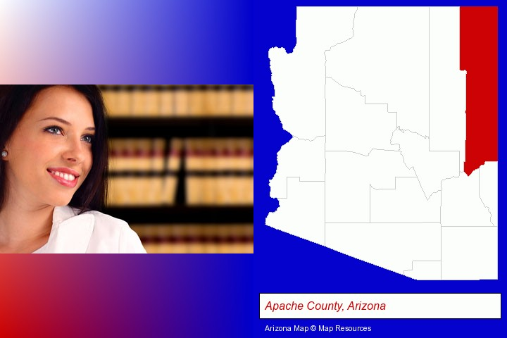 a young, female attorney in a law library; Apache County, Arizona highlighted in red on a map