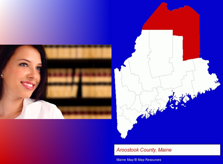 a young, female attorney in a law library; Aroostook County, Maine highlighted in red on a map