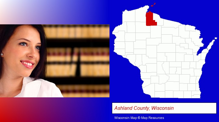 a young, female attorney in a law library; Ashland County, Wisconsin highlighted in red on a map