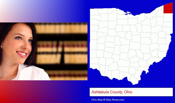 a young, female attorney in a law library; Ashtabula County, Ohio highlighted in red on a map