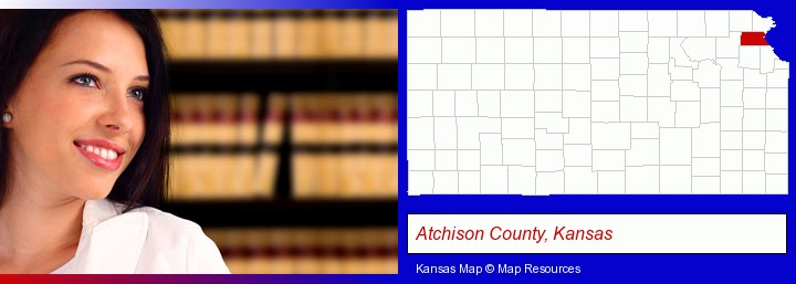 a young, female attorney in a law library; Atchison County, Kansas highlighted in red on a map
