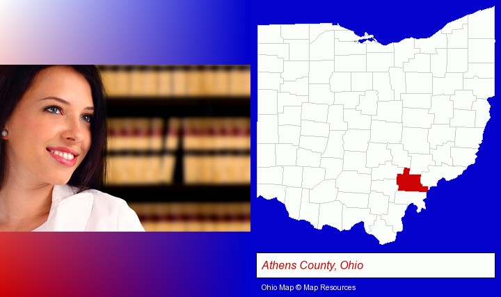 a young, female attorney in a law library; Athens County, Ohio highlighted in red on a map