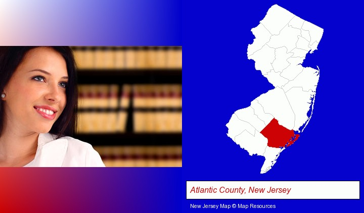 a young, female attorney in a law library; Atlantic County, New Jersey highlighted in red on a map
