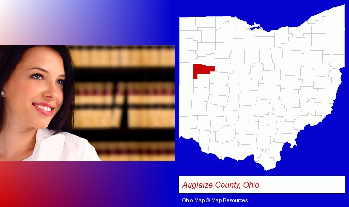 a young, female attorney in a law library; Auglaize County, Ohio highlighted in red on a map