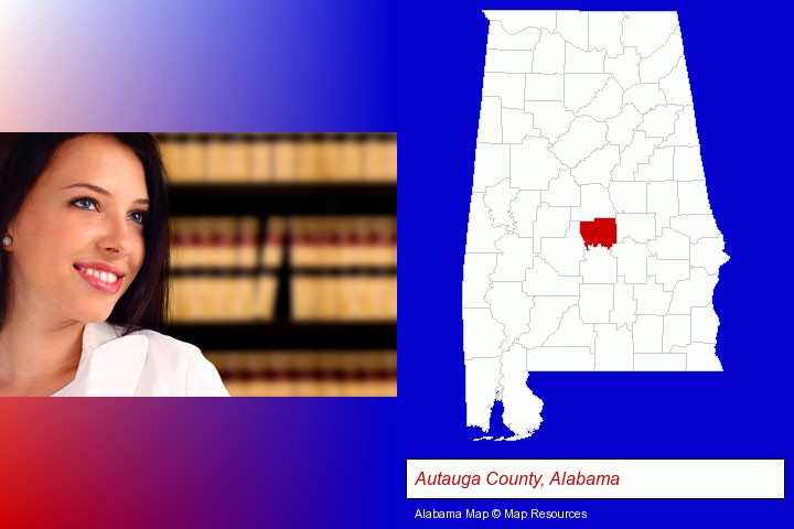 a young, female attorney in a law library; Autauga County, Alabama highlighted in red on a map