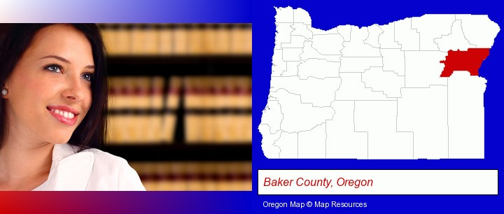 a young, female attorney in a law library; Baker County, Oregon highlighted in red on a map