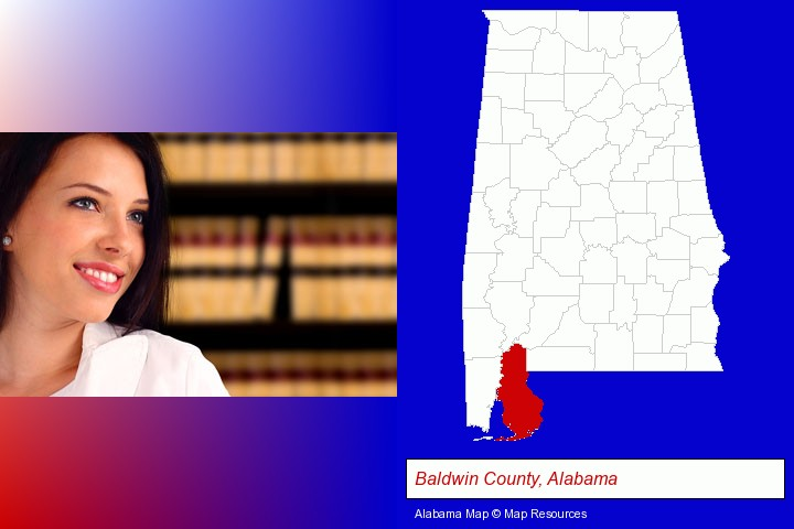 a young, female attorney in a law library; Baldwin County, Alabama highlighted in red on a map