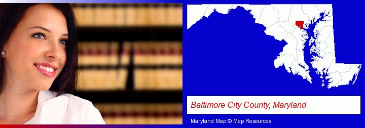 a young, female attorney in a law library; Baltimore City County, Maryland highlighted in red on a map