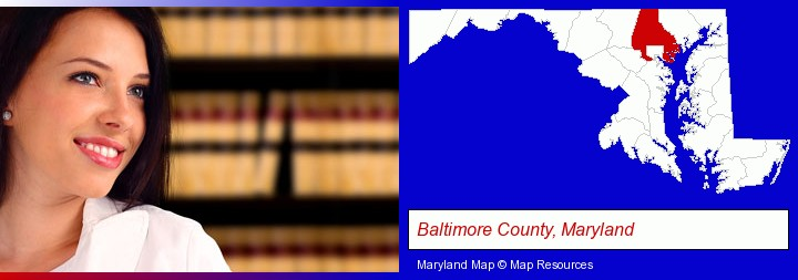 a young, female attorney in a law library; Baltimore County, Maryland highlighted in red on a map