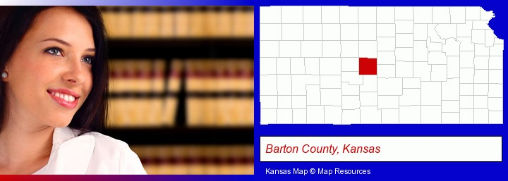 a young, female attorney in a law library; Barton County, Kansas highlighted in red on a map