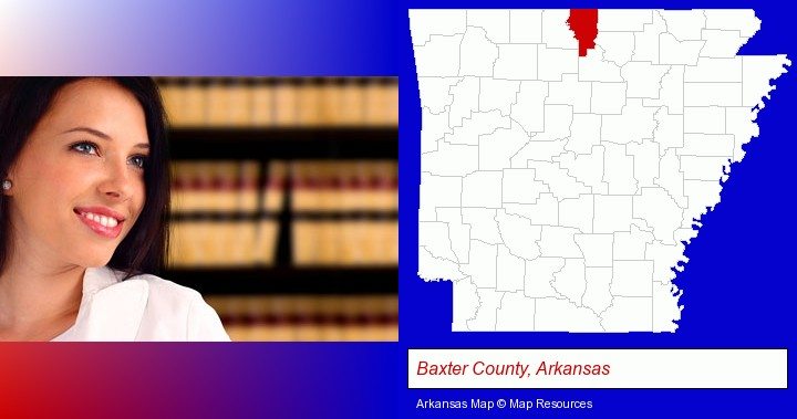 a young, female attorney in a law library; Baxter County, Arkansas highlighted in red on a map